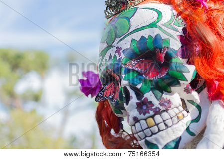 Mask Sculpture At The 15Th Annual Day Of The Dead Festival
