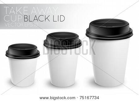 Take away paper cup black cap
