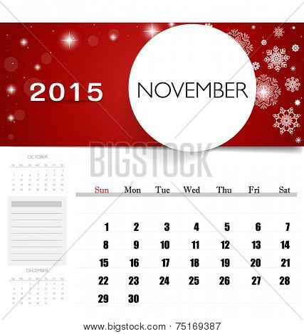 2015 calendar, monthly calendar template for November. Vector illustration.