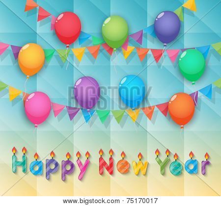 Happy New Year Candles Balloon And Party Flags Sky Background