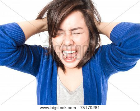 Young Stress Woman Going Crazy Pulling Her Hair In Frustration On White Background