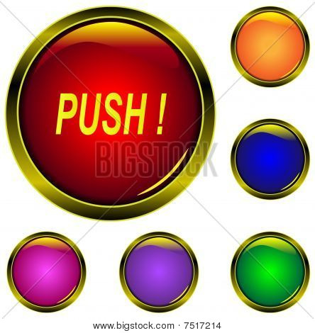 gold metallic glossy buttons