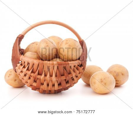 Potato tuber  in wicker basket isolated on white background