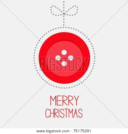 Hanging Red Button Ball With Bow Dash Line Thred Applique Merry Christmas Card Flat Design