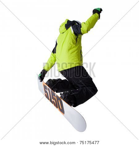 Snowboarder at jump over white background