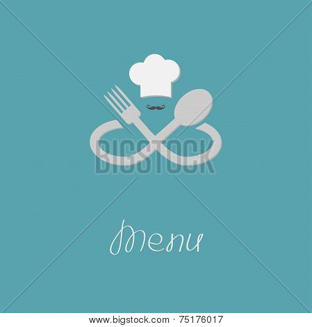 Fork, Spoon Infinity Sign, Chef Hat And Mustache. Menu Card. Flat Design Style.