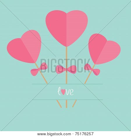 Three Sticks With Hearts And Bows Word Love. Flat Design