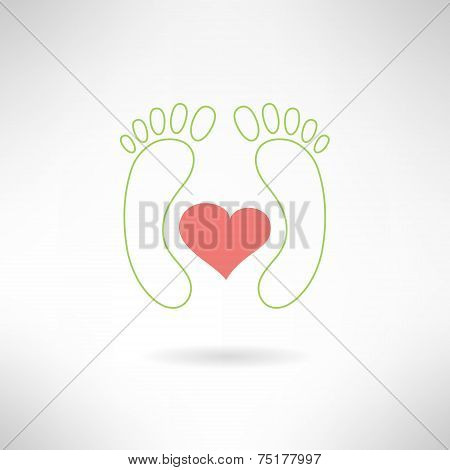 Feet massage sign and feet logo with heart. Isolated on white background. Vector illustration