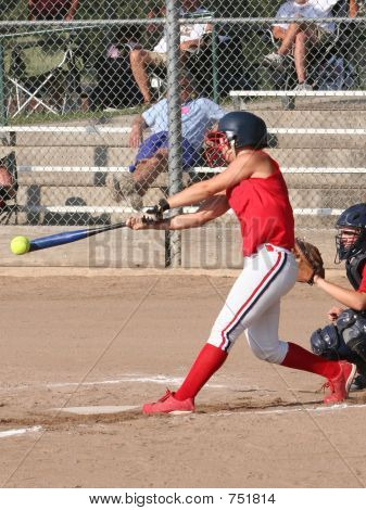 Softball Hitter Makes Contact