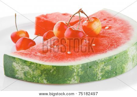 image of watermelon and cherry on white
