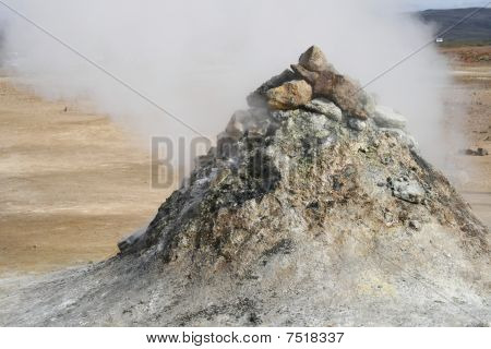 Geothermal Pile Of Sulphuric Rock