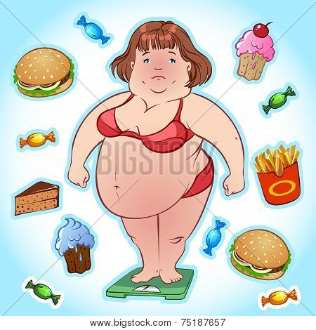 Fat Woman On The Scales And A Set Of Harmful Products
