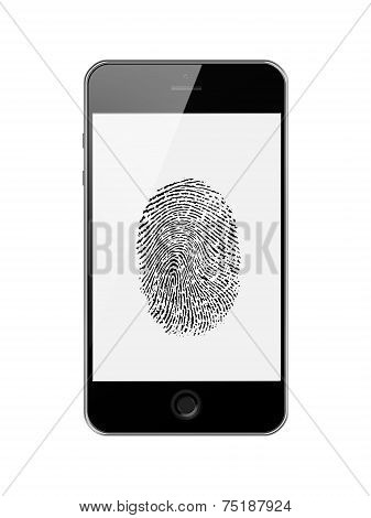 Mobile Smart Phone With Fingerprint Of Thumb Isolated On White.