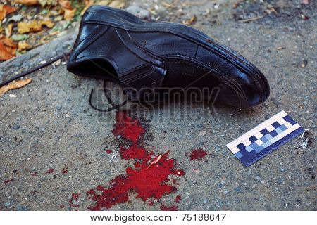 Evidence and blood at crime scene