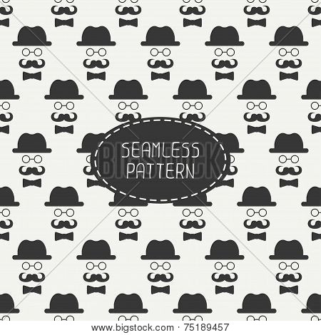 Vector seamless retro pattern with vintage hipster gentleman mustache, hat, glasses. For wallpaper,