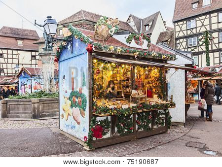 Traditional Kisok In An Alsatian Christmas Market