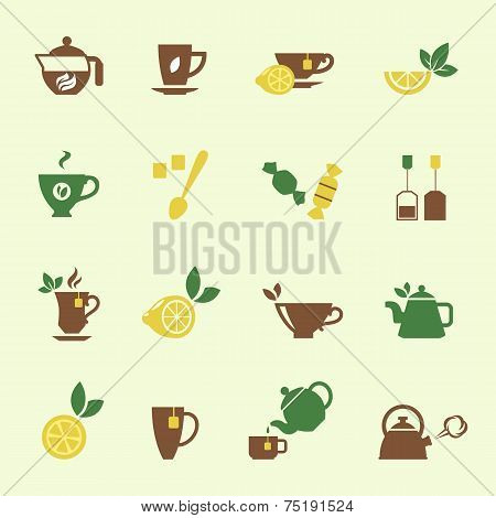 Attractive Tea Time Icon Set Designs