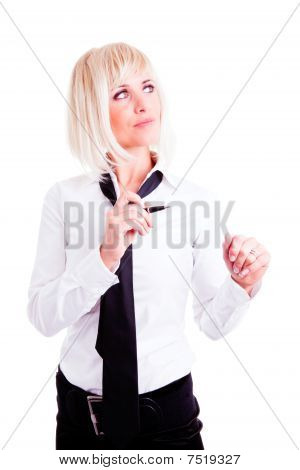 Businesswoman Standing And Holding Pen Over White
