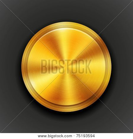 Vector gold textured metal button
