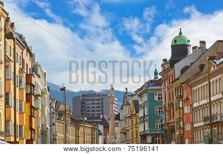 Our Lady statue at old town in Innsbruck Austria - architecture background