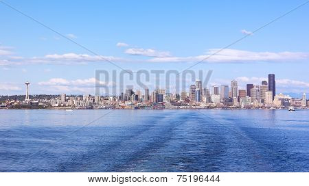 View from the harbor on Seattle city skyline.
