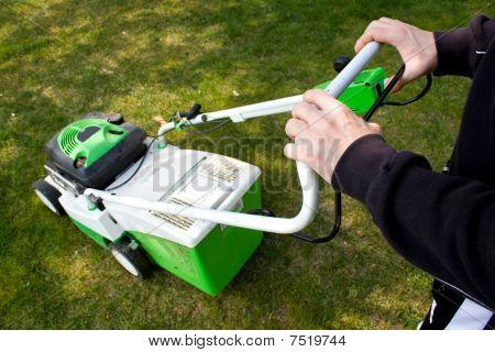 Man Cuts Grass
