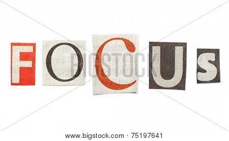 Focus, Cutout Newspaper Letters