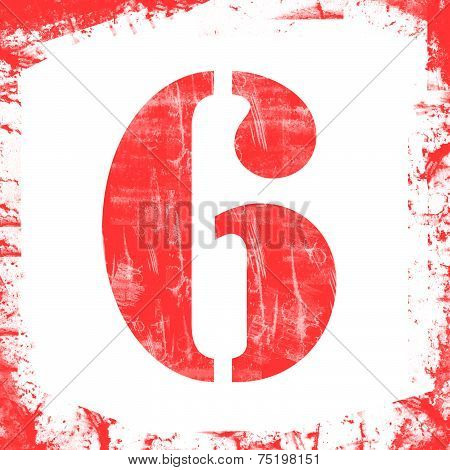 Single Number 6 Stamp, Grunge Design