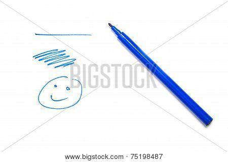 Blue Pen, Smilie, Line Drawn