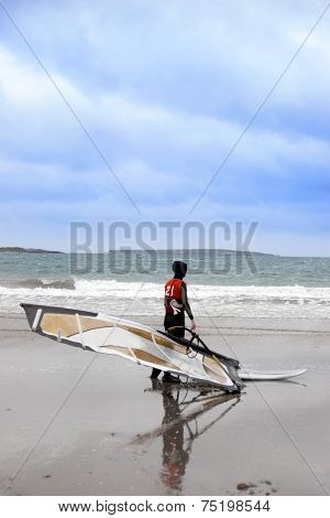 Lone Atlantic Way Windsurfer Getting Ready To Surf