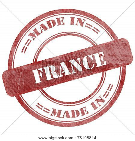 Made In France, Red Grunge Seal Stamp