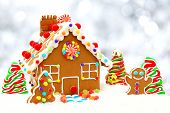 pic of twinkle  - Christmas gingerbread house scene with twinkling silver light background - JPG