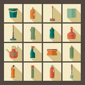 stock photo of cleaning house  - Icons of accessories and means for cleaning - JPG