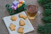 picture of flogging  - Christmas theme with floggings sled biscuits and tea - JPG