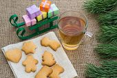 pic of flogging  - Christmas theme with floggings sled biscuits and tea - JPG