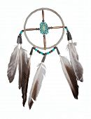 foto of dreamcatcher  - Dreamcatcher - original from an indian reservation in the US - isolated on white.