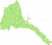 picture of eritrea  - Decorative map of Eritrea in a mosaic of green squares - JPG