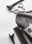 pic of taper  - professional tools of hairdresser on white background - JPG