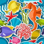 pic of sea life  - Marine life sticker seamless pattern with sea animals - JPG
