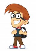 stock photo of dork  - Clipart Picture of a Nerd Geek Cartoon Character Wearing Backpack - JPG