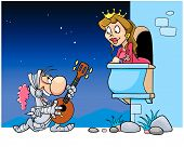 image of serenade  - Knight sings a serenade under the balcony of his beloved - JPG