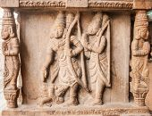 picture of vedic  - An ancient sculpture of the Hindu god Rama and Lakshman carved into a temple column - JPG