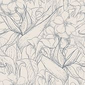 pic of jungle flowers  - Tropical monochrome seamless pattern with exotic flowers on leopard print background - JPG