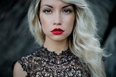 picture of fine art portrait  - Fashion art photo of beautiful woman with red lipstick - JPG