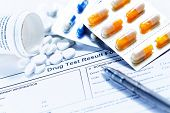 foto of penicillin  - Drug test blank form with Variety of medicines - JPG