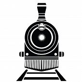 image of train-wheel  - illustration with old train icon on a white background - JPG