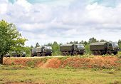 picture of military personnel  - Unit of military vehicles for the transport of personnel on the march - JPG
