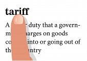 stock photo of nouns  - term of tariff with a forefinger on it - JPG
