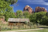 stock photo of water-mill  - Historic Crescent Moon Ranch State Park in Sedona Arizona showing abandoned ranch buildings - JPG