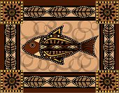 foto of aborigines  - ornamental fish in old aboriginal style traditional - JPG